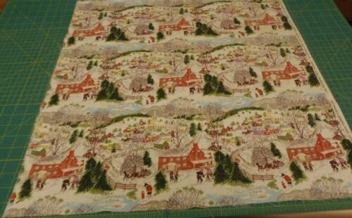 "Grandma Moses Barkcloth ""DEEP SNOW "" Barkcloth Fabric sewbuzyb"