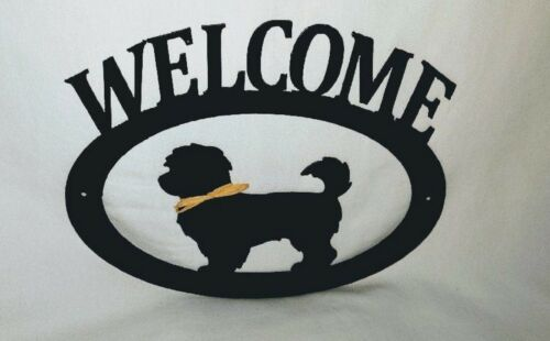 Havanese Handcrafted Metal Welcome Sign black silhouette Made in the USA