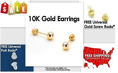 Gold Stud Earrings, 10K Yellow Gold, Ball, 4mm **PAIR* Stamped Authentic, 10KT