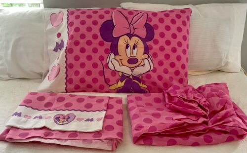Disney Minnie Mouse Pink & White Twin Sheet Set Cotton/Poly Made in USA