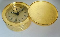 Lovely gold tone metal table alarm clock in perfect condition