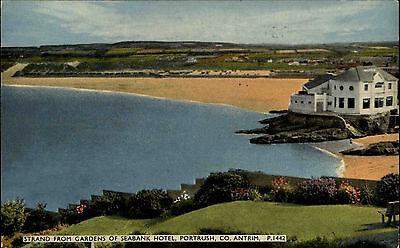 Portrush Co Antrim Irland postcard ~1950/60 Strand from Gardens of Seabank Hotel