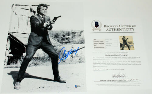 CLINT EASTWOOD SIGNED AUTHENTIC 'DIRTY HARRY' 11x14 MOVIE PHOTO BECKETT COA BAS