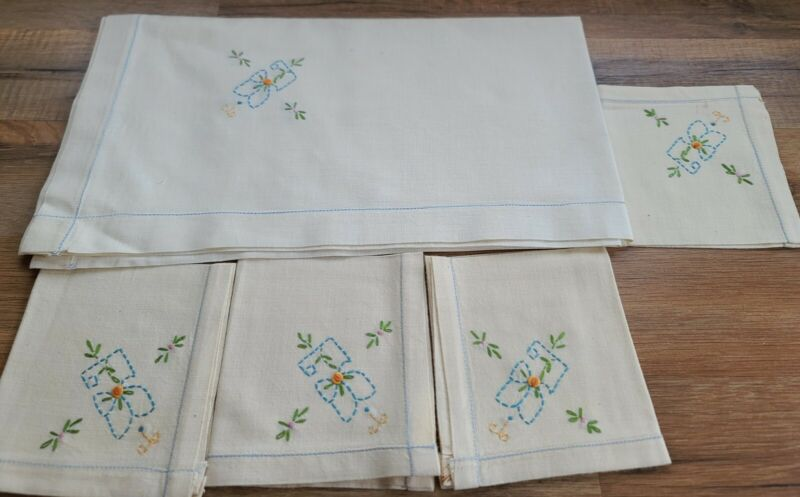 Antique Kitchen Linens Napkin Set Of 4 Napkins And square tablecloth (r)