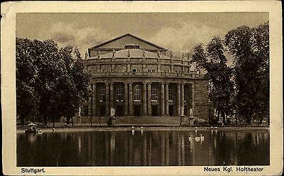 Stuttgart Postkarte 1926 Partie am neuen königlichen Hoftheater Teich Schwäne