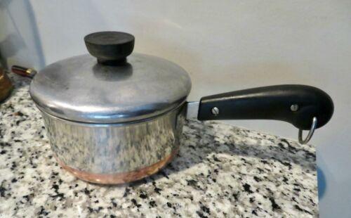 Vintage Stainless & Copper  Revere Ware 1 Qt  Sauce Pan Original Line Patent #