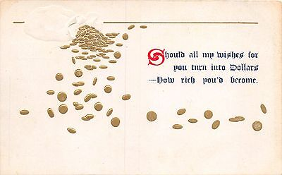 SHOULD ALL MY WISHES TURN INTO DOLLARS EMBOSSED GILT GREETING POSTCARD