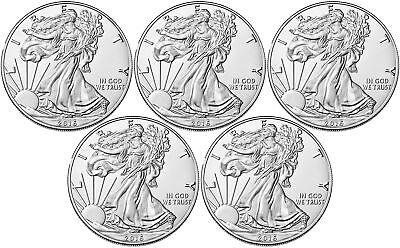 Lot of 5 - 2016 $1 1oz Silver American Eagle BU