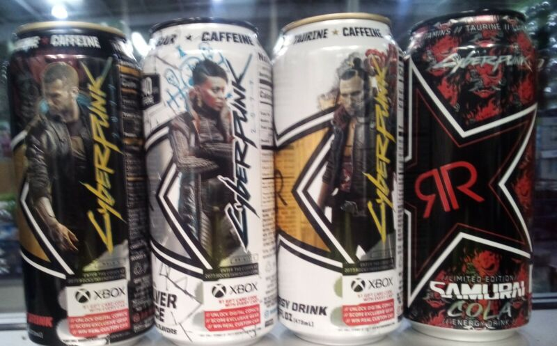 Rockstar Energy Cyberpunk 2077 Collectors cans Lot of 4 Rare Limited Edition