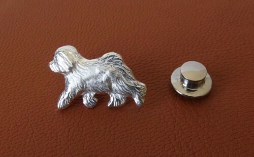 Small Sterling Silver Old English Sheepdog Moving Study Lapel Pin