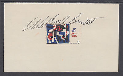 William Bennett  Us Secretary Of Education  Signed Fine Arts Stamp On Card