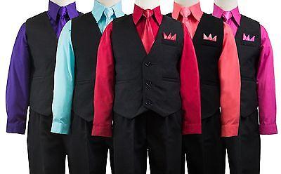 Boys Solid Black Vest Suit Set with Colored Dress Shirt, Tie, Size 2T-14 - Black Boys Suits