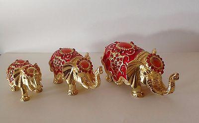 RHINESTONE CRYSTAL ENAMEL TRINKET BOX - SET OF 3 ELEPHANT FAMILY-RED