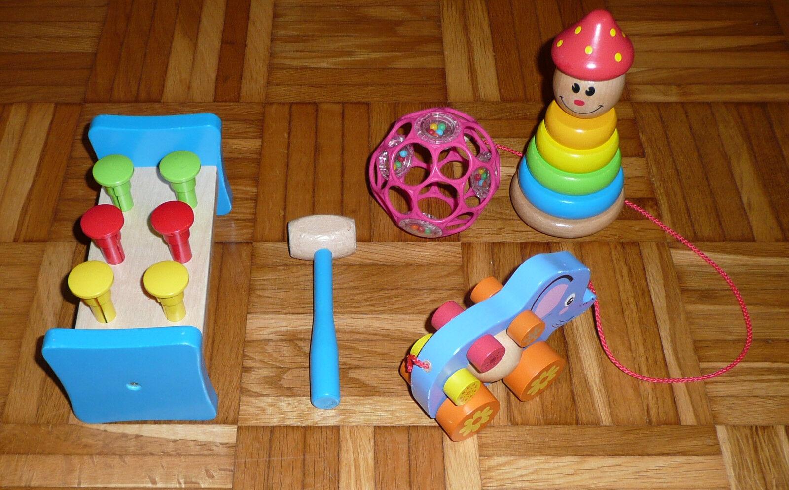 Spielzeugset: Oball, Klopfbank, Stapel Clown, Ziehtier Elefant, gebraucht
