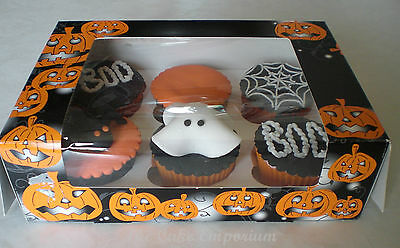 HALLOWEEN BOXES FOR CUPCAKES WITH WINDOW INSERTS OR CUPCAKE CASES BLACK & ORANGE ()