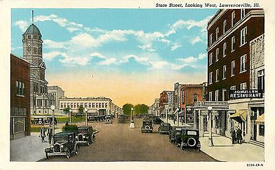 C1930 State Street Looking West  Lawrenceville  Illinois Postcard