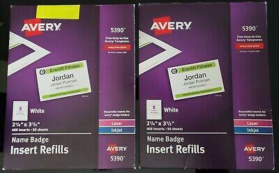 Avery Name Badge Refills 400 Card Stock White Laser Inkjet #5390 75+ SHEETS READ Laser Name Badge