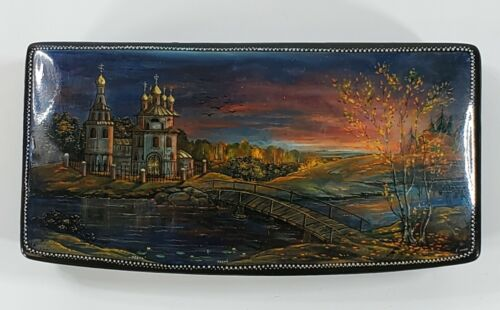 """Vintage Signed Russian Lacquer Box Hand Painted Scene """"Autumn"""" Landscape"""