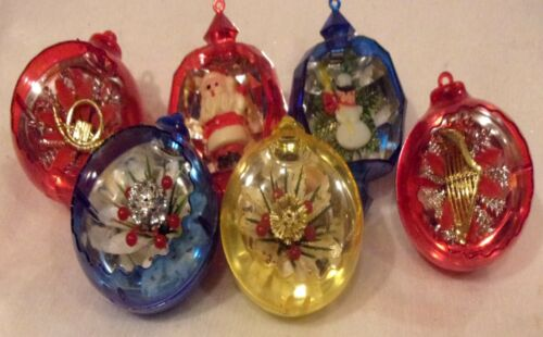 """6 Vintage PLASTIC ORNAMENTS Christmas Small Inserted Decorations  2-1/2"""" RARE"""