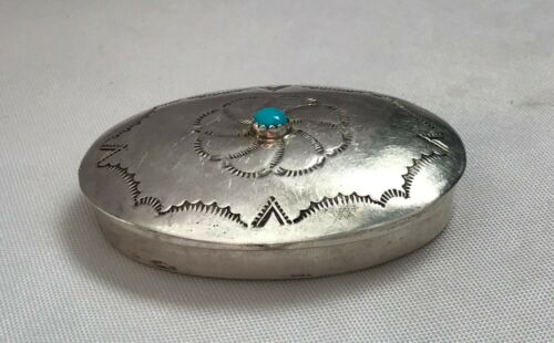 Vintage Jeffery Castillo Navajo Sterling and Turquoise Pill Box w/ Stamp Work