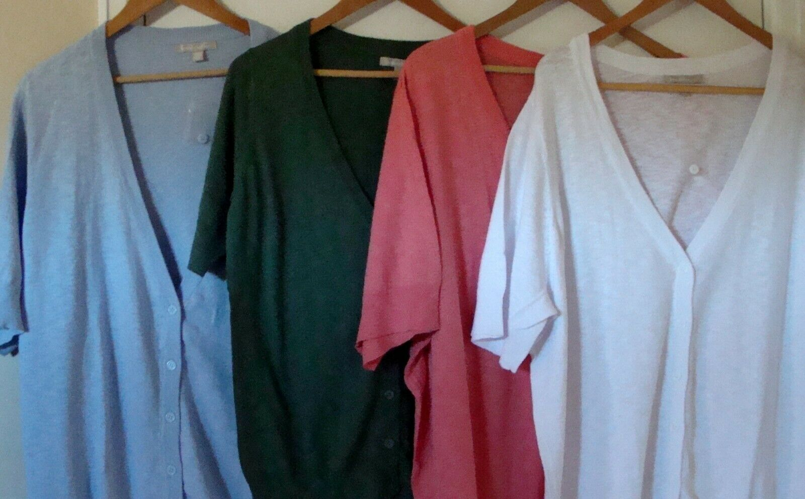 Woman Within Short Sleeve V-Neck Cardigan Blue, Pink, White, Green, Sm to 5X