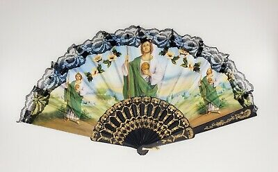 Church Hand Fans (12Pcs Saint Jude Folding Fans Vintage Retro Style For Baptism Church Gifts)