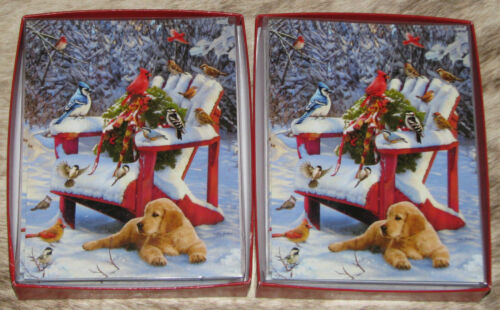 LEANIN TREE Lab Pup with Birds Snow Scene~24 Christmas cards/envelopes~Notelets