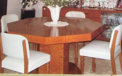 SOLID TIMBER POLISHED VENEER OCTAGON TABLE/CHAIRS Everton Park Brisbane North West Preview
