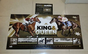 KING & QUEEN HORSE RACING OFFICIAL LIMITED PRINT BLACK CAVIAR & PHAR LAP + COA