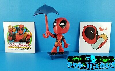 MARVEL DEADPOOL CHIMICHANGA SURPRISE  SERIES 1 w/ SKATEBOARD and UMBRELLA