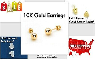 Gold Stud Earrings, 10K Yellow Gold, Ball, 5mm **PAIR* Stamped Authentic, 10KT