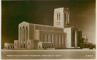 s09561 Cathedral model, Guildford, Surrey, England RP postcard