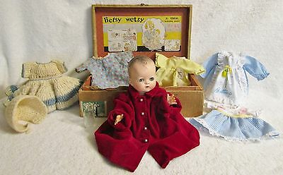 """1948 Betsy Wetsy Doll 12"""" (Original suitcase, gown, t-shirt, booties, & bottle)"""