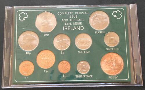 Ireland Complete Decimal Issue and Last LSD Coin Type Set Coinage