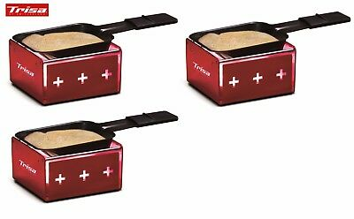 """3 er Set Raclettegrill 1 Pers. Trisa Swiss My Raclette """" überall Einsetzbar"""" rot"""