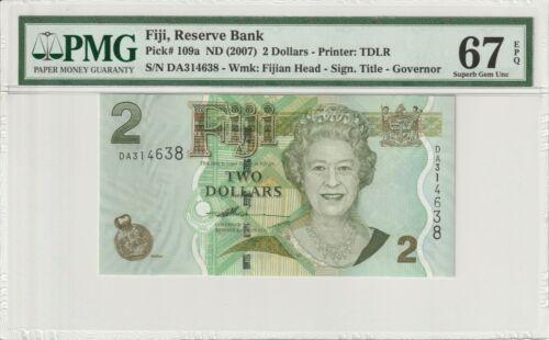 Fiji 2007 $2 PMG Certified Banknote UNC 67 EPQ Superb Gem Queen Elizabeth 109a