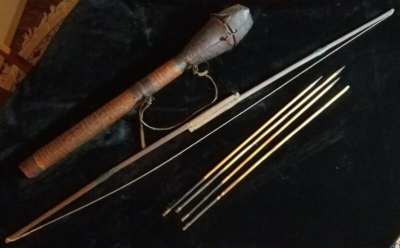 Authentic Antique Handmade Bow & Arrow Set with Quiver - Bhutanese? UN Estate.