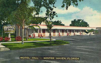 Vintage Motel Hill Postcard Winter Haven Florida Linen Finish Unused