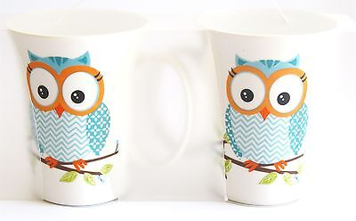 Owl Mug - Set 2 Bone China Supplied in Clear Plastic Carry Pack - Blue Chevron ()