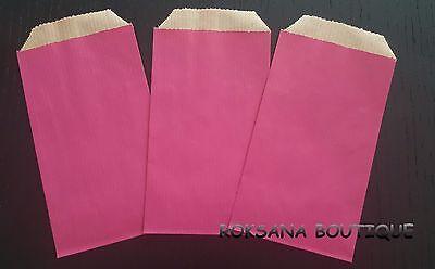 50 pochettes cadeaux kraft sachets papier bijoux emballage cadeau rose 7x13 cm