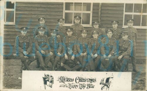 WW1 South wales Borderers + 1 Border Regiment section photo Merry Christmas etc