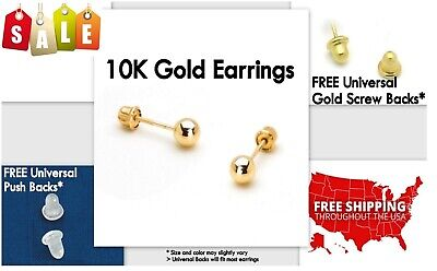 Gold Stud Earrings, 10K Yellow Gold, Ball, 3mm **PAIR* Stamped Authentic, 10KT