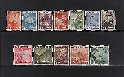 """Österreich 12 Werte aus 598 -612 """"  Flugpost 1935 """" postfrisch einwandfrei"""