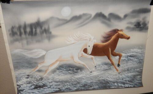 LALING CHINESE HORSES ORIGINAL WATERCOLOR ON SILK PAINTING