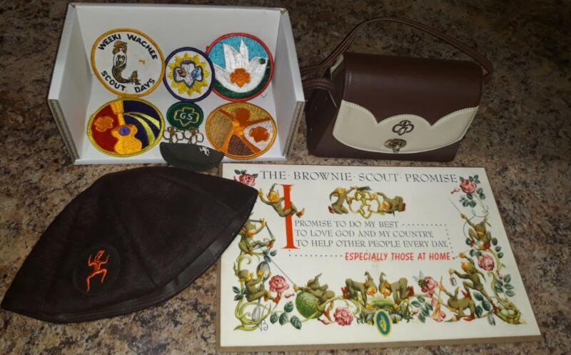 Vintage Brownie Girl Scout Beret Purse Brownie Promise Plaque Badges Pins Lot 12