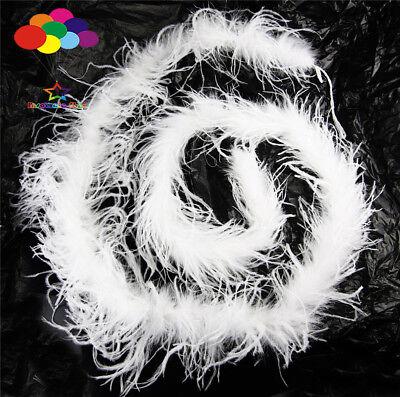 Straußenfeder Streifen Borte Boa Gefärbt Weiß 2M Karneval Diy Kostüm Kopfschmuck