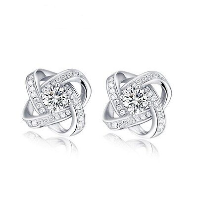 Luxury Flower Design with Cubic Zirconia 925 Sterling Silver Women Stud Earrings Fine Earrings