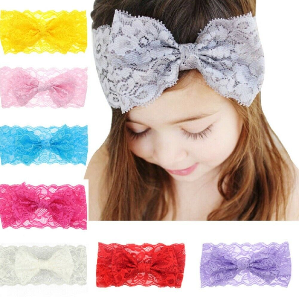 8 Pcs Kids Girl Baby Headband Toddler Lace Bow Flower Hair Band Accessories US Baby