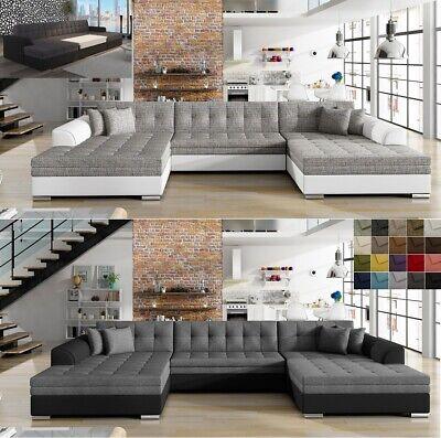 XXL Wohnlandschaft Ecksofa mit Schlaffunktion VEGA Couch Polsterecke in U-Form online kaufen