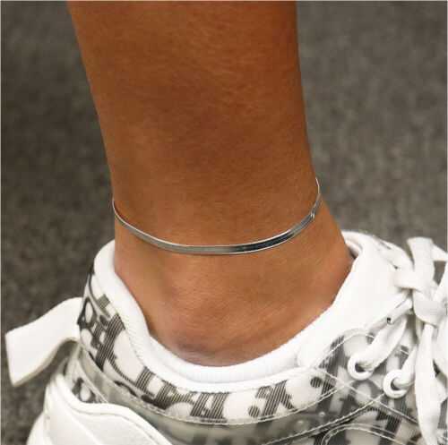 """2.5MM Solid 925 Sterling Silver Italian Herringbone Anklet Chain 9"""" or 10"""" Italy"""